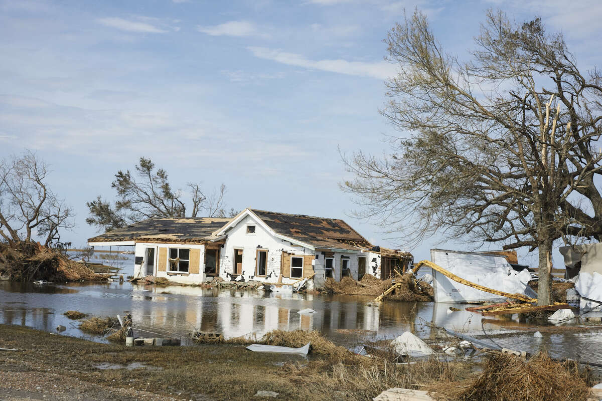 A view of the damage around the site aftermath of the Hurricane Laura in Lake Charles, Louisiana, United States on August 30, 2020.