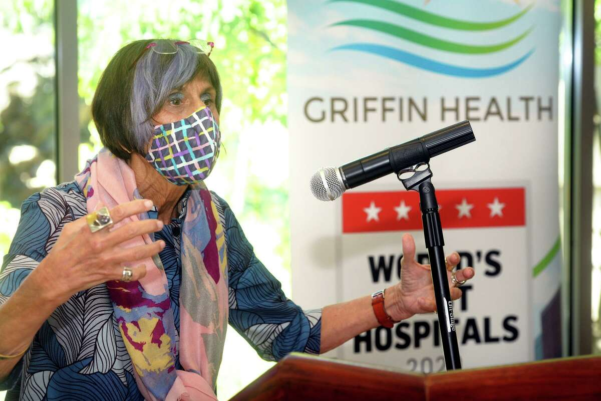 U.S. Rep. Rosa DeLauro speaks during a news conference at Griffin Hospital's Center for Cancer Care, in Derby, Conn. Aug. 18, 2020.