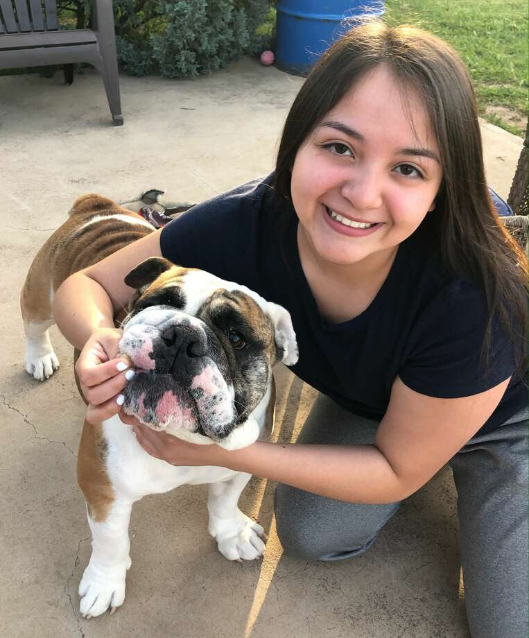 Jamie Gomez, salutatorian of Early College High School at Midland College class of 2020, is majoring in neuroscience at University of Texas. She will be leaving her dog, Jabba. Photo: Courtesy Photo