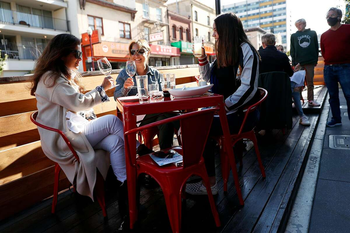 Barbara Yamanaka (left), Carolyn Nobel (center) and Margaux (right) Nobel dine at China Live on Broadway in San Francisco, Calif., on Wednesday, July 22, 2020. China Live on Broadway in San Francisco, Calif., on Wednesday, July 22, 2020. Shortly after shelter-in-place orders hit, San Francisco restaurant owners proclaimed that outdoor dining -- typically a feature that required too many permits and costs for many to bother with -- could save the restaurant industry. In June, the city's restaurants finally started serving diners again on sidewalks, with others building more ambitious patios and parklets. One month later, outdoor dining is proving not to be the panacea restaurant owners hoped for.