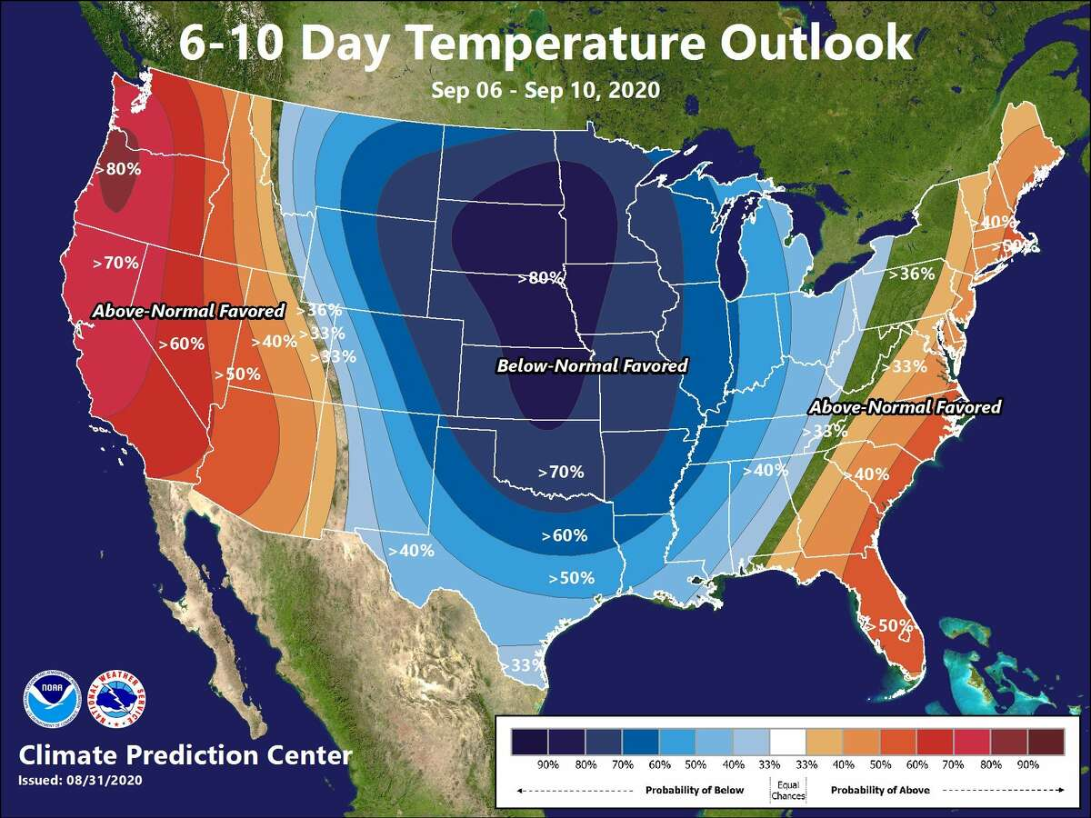 A cold front could bring below-average temperatures to Houston by Sept. 8, 2020.