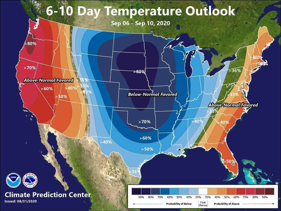 A cold front could bring below-average temperatures to Houston by Sept. 8, 2020. Photo: Climate Prediction Center