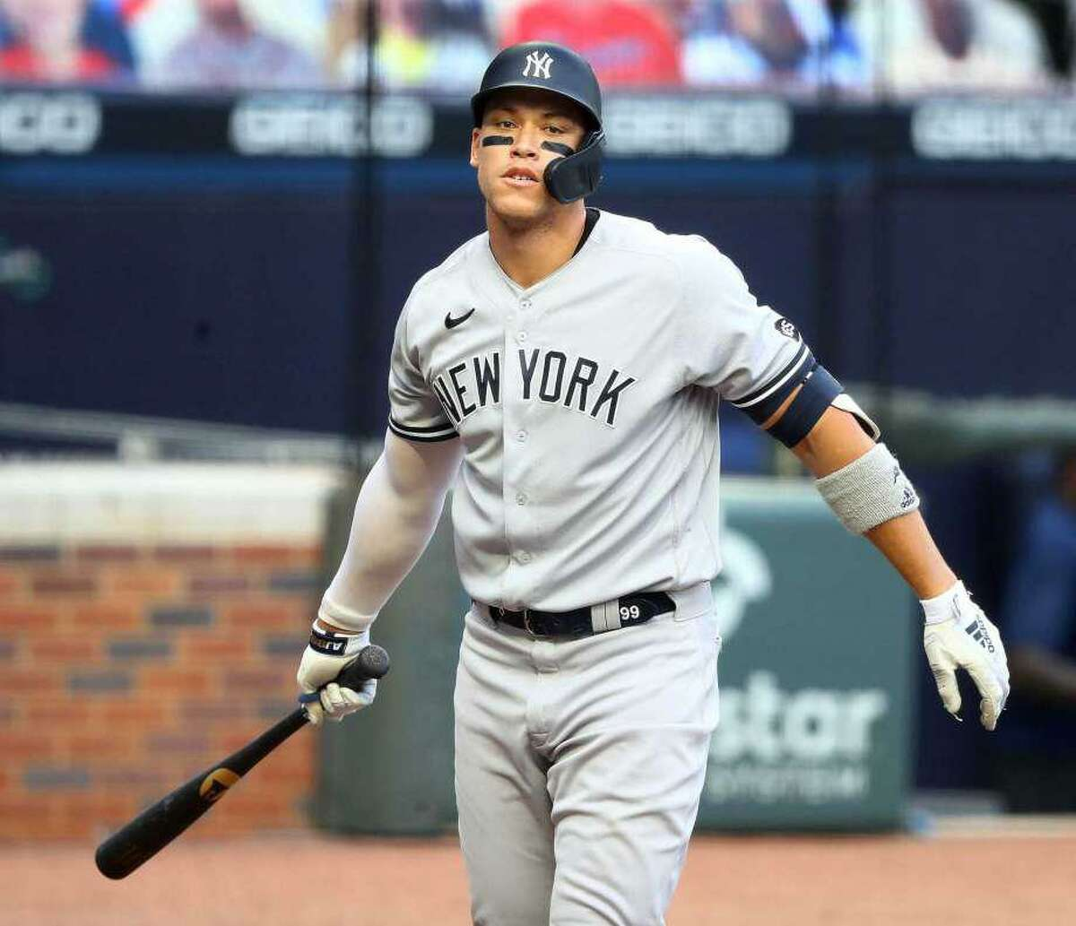 The New York Yankees' Aaron Judge grounds out against the Atlanta Braves during the first inning in the second game of a doubleheader on Wednesday, Aug. 26, 2020, at Truist Park in Atlanta.