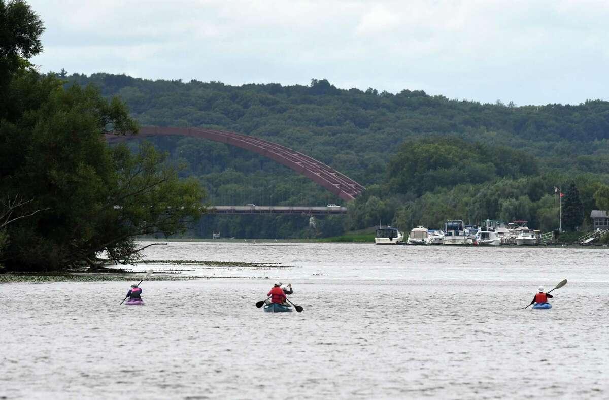 Paddlers make their up the Mohawk River toward Thaddeus Kosciusko Bridge on Tuesday, Sept. 1, 2020, in Halfmoon, N.Y. (Will Waldron/Times Union)