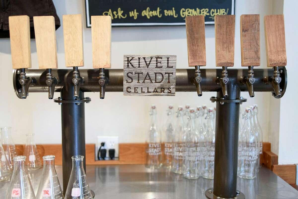 Wine taps are seen at Kivelstadt's tasting room in Glen Ellen, on June 24, 2018.