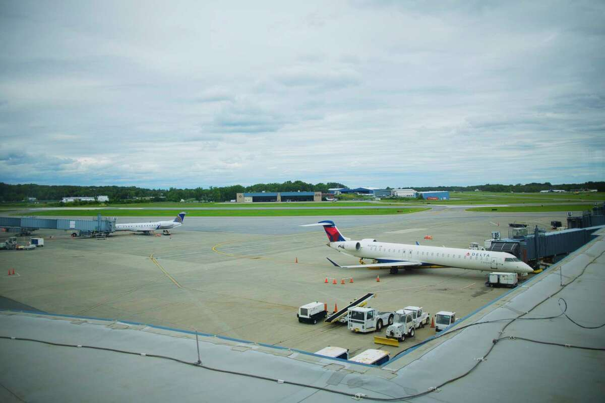 A view looking out from the observation deck at the Albany International Airport on Tuesday, Sept. 1, 2020, in Albany, N.Y. (Paul Buckowski/Times Union)