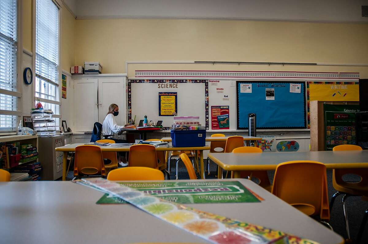 """Katie Bohne, a first grade teacher at Adda Clevenger School in San Francisco, Calif. works in her empty classroom on August 28, 2020. Bohne spent a week preparing her classroom for students only to learn the school was switching to remote learning. """"But I'm still hanging up their classwork because I want them to feel this is their space even if they're not here,"""" she said."""