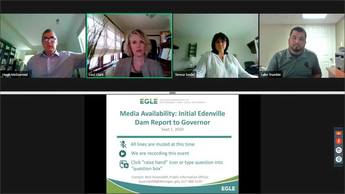 Representatives from the Michigan Department of Environment, Great Lakes, and Energy held a webinar Tuesday. Sept. 1, to discuss a preliminary status report on the dam failure investigation, which they shared with Gov. Gretchen Whitmer a day prior. (Screen photo/EGLE)