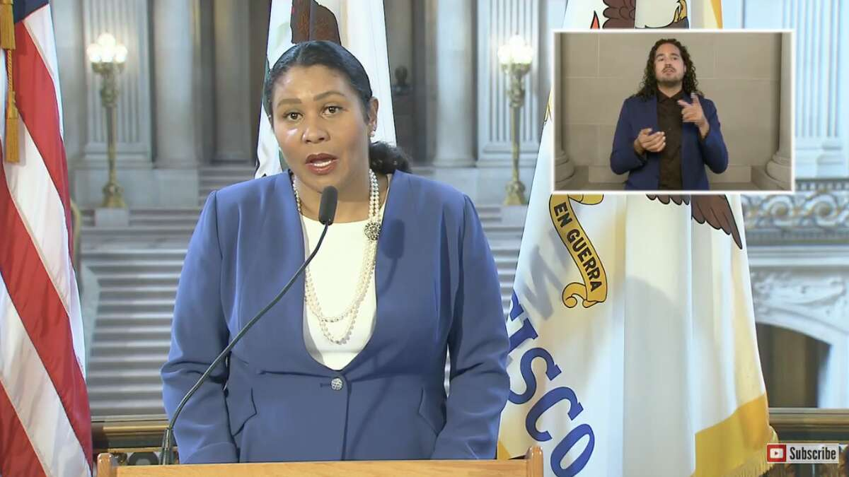 San Francisco Mayor London Breed addresses the city in a virtual press conference on September 1, 2020.