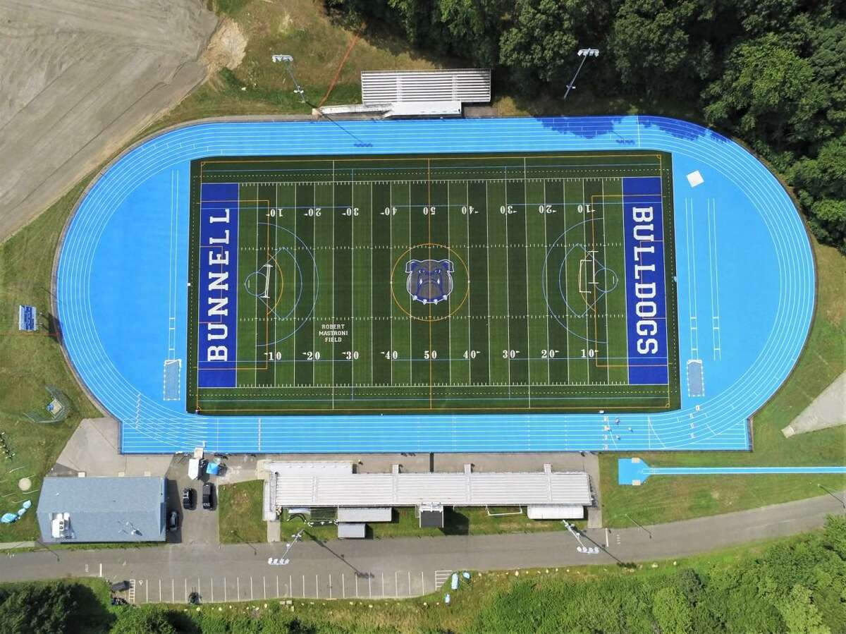 An aerial view of Robert Mastroni Field and the surrounding complex at Bunnell High School in Stratford. The complex was recently refurbished with a new turf field and a resurfaced track.