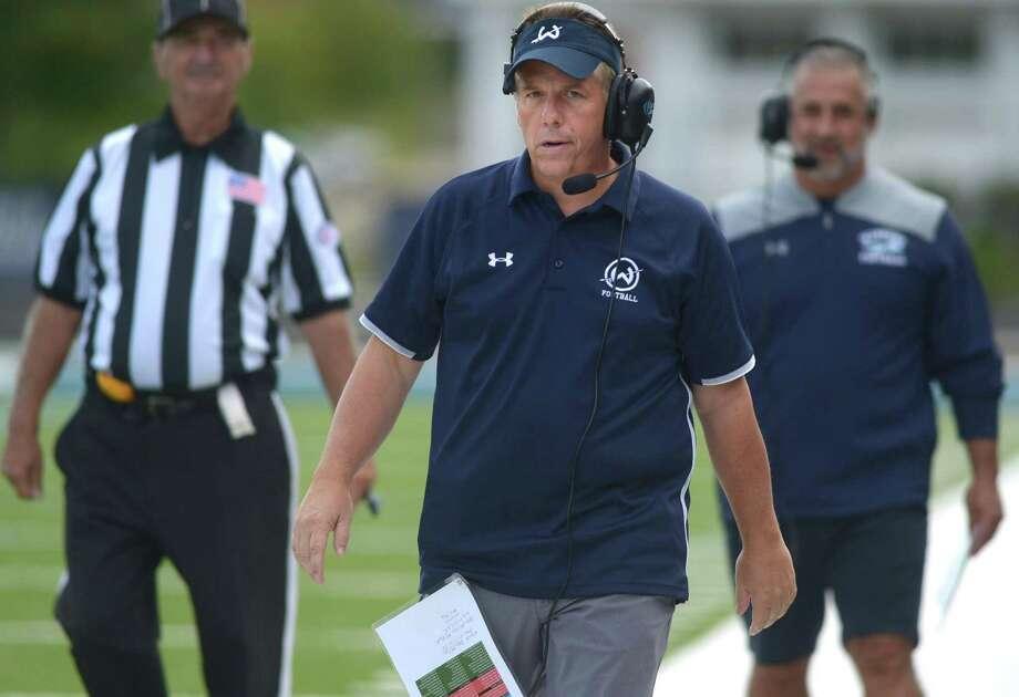 Wilton football head coach EJ DiNunzio. Photo: Erik Trautmann / Hearst Connecticut Media / Norwalk Hour