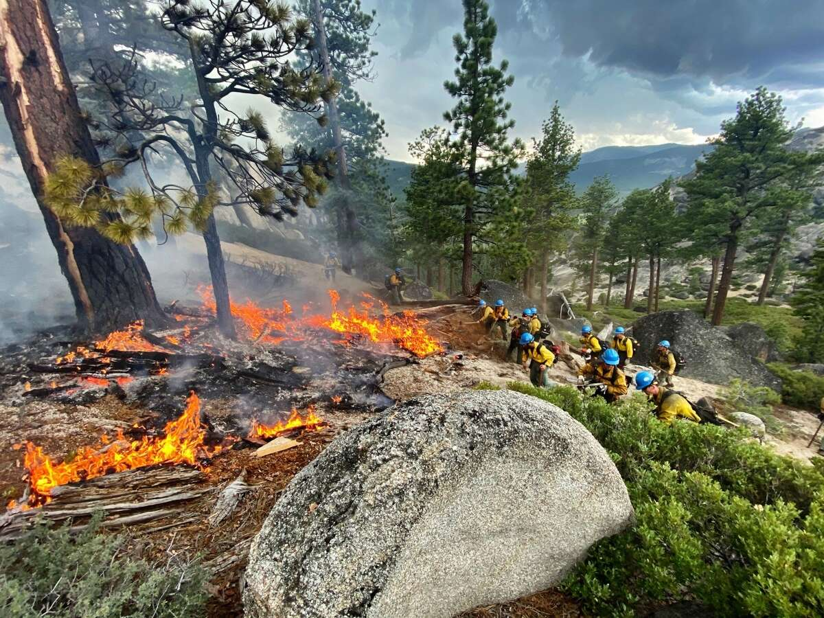 A hotshot team responds to the Twin Peaks Fire in Lake Tahoe in June.
