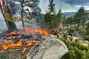 A hotshot team responds to the Twin Peaks Fire in Lake Tahoe in June. Photo Credit: U.S. Forest Service
