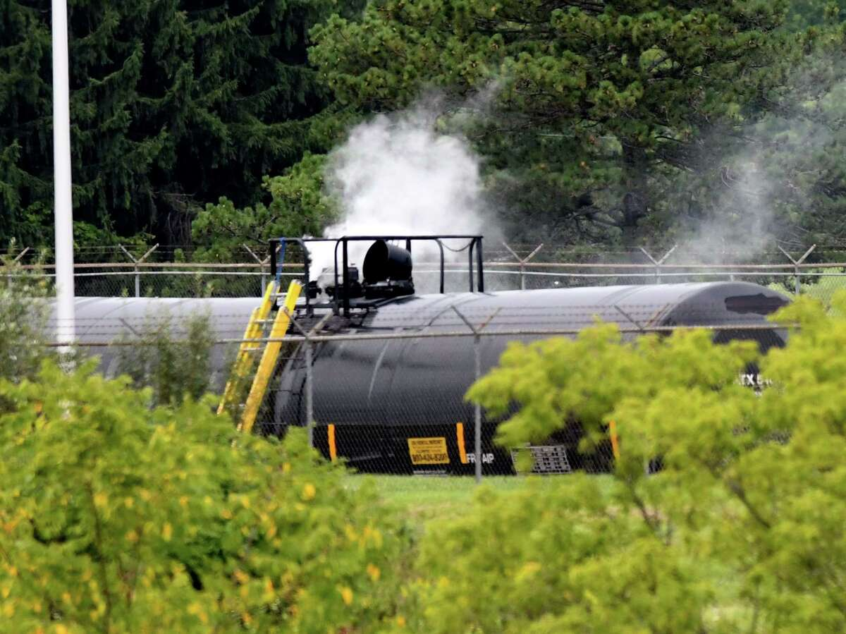 Vapors rise from a rail tanker car containing styrene, a monomer used in the manufacturing of plastics, at the SABIC Innovative Chemicals facility on Creble Road on Tuesday evening, Sept. 1, 2020, in Bethlehem, N.Y. A leak in the tank was stopped after the pressure in the tank was stabilized Tuesday morning. (Will Waldron/Times Union)