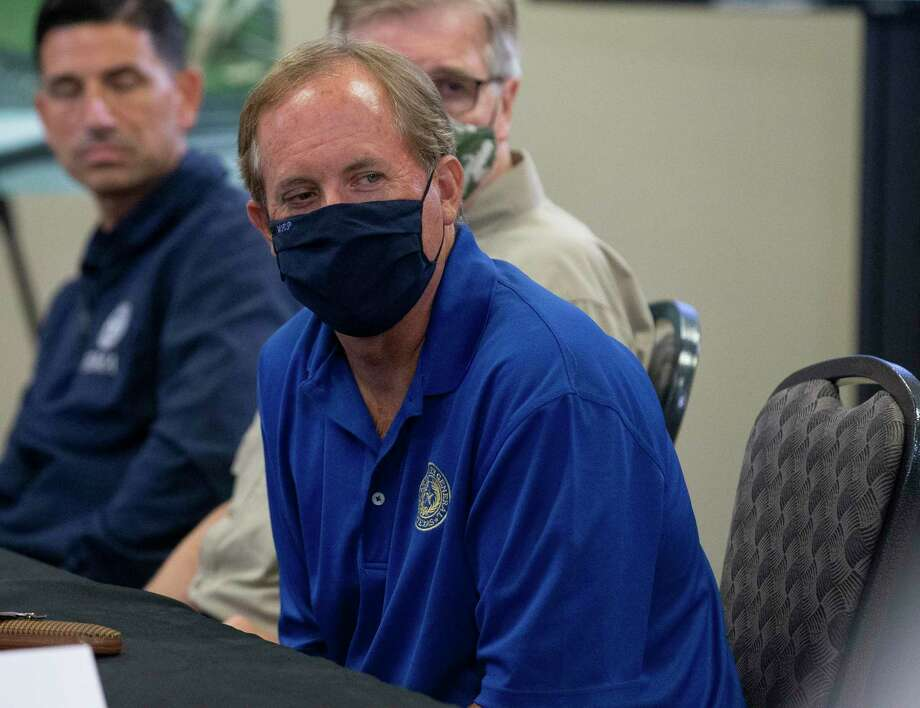 Texas Attorney General Ken Paxton, shown here at a Hurricane Laura briefing in Orange, on Aug. 29, 2020. Photo: Yi-Chin Lee, Houston Chronicle / Staff Photographer / © 2020 Houston Chronicle