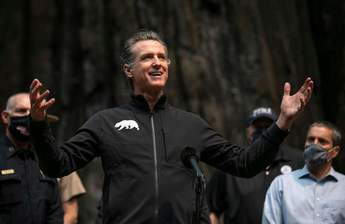 Governor Gavin Newsom Speaks at a press conference after touring the fire damage to Big Basin Redwoods State Park on Tuesday, Sept. 1, 2020 in Boulder Creek, Calif.