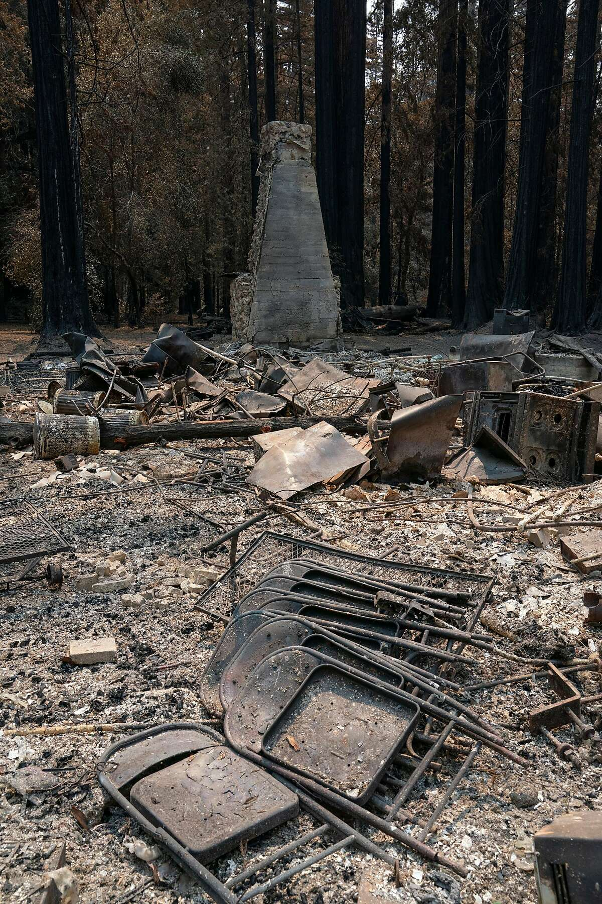 The old lodge was burned to the ground at Big Basin Redwoods State Park on Tuesday, Sept. 1, 2020 in Boulder Creek, Calif.