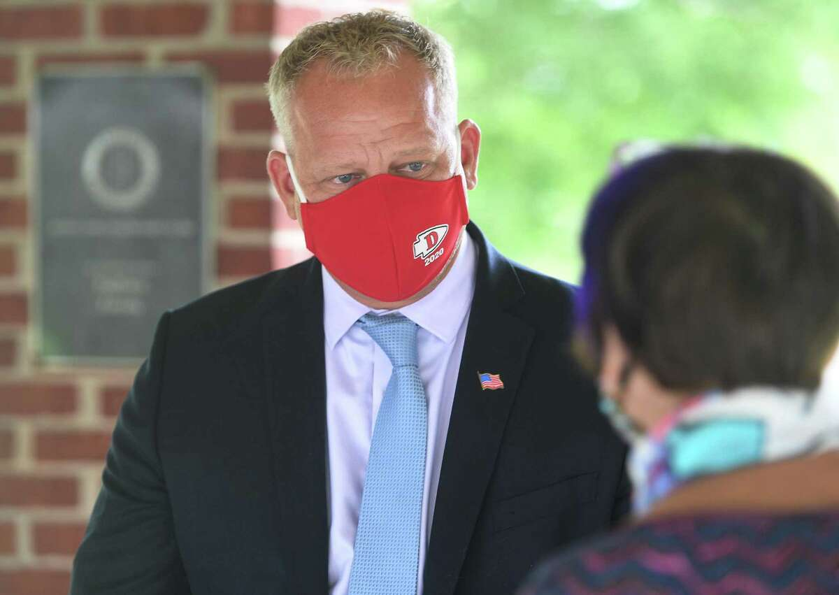 """Derby Mayor Rich Dziekan on Tuesday, September 1, 2020. """"My desire is everyone stay safe and stay healthy,"""" said Dziekan, who on Thursday said he was feeling better and hadn't had a fever in two days. """"There may not be trick-or-treating this year but there is always next year."""""""