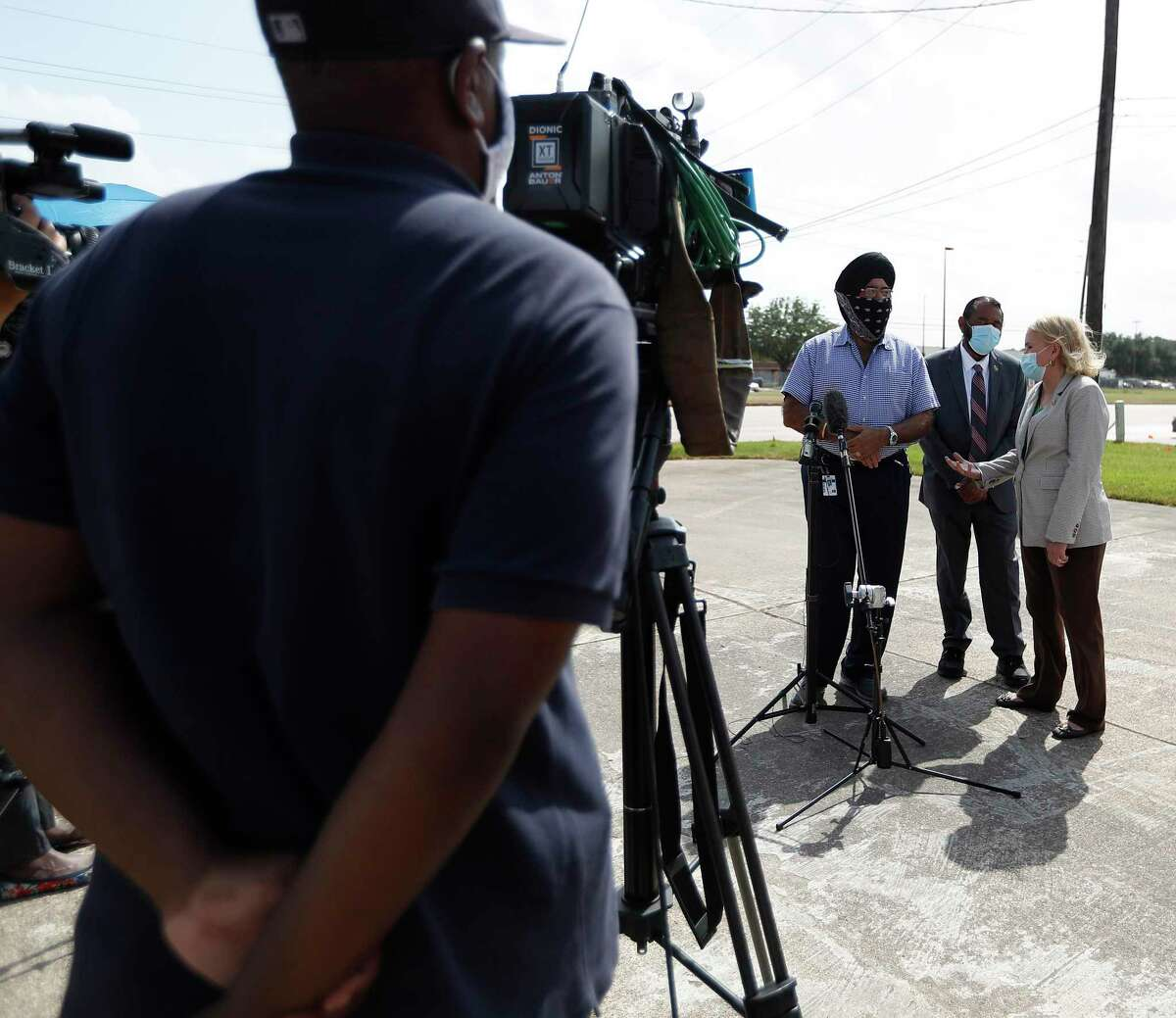 Congresswoman Sylvia Garcia and Congressman Al Green along with Prit Singh, speak to the media after their visit to the North Houston USPS Distribution and Processing (D&P) Center at 4600 Aldine Bender Road to conduct congressional oversight of the U.S. Postal Service, Tuesday, September 1, 2020, in Houston.