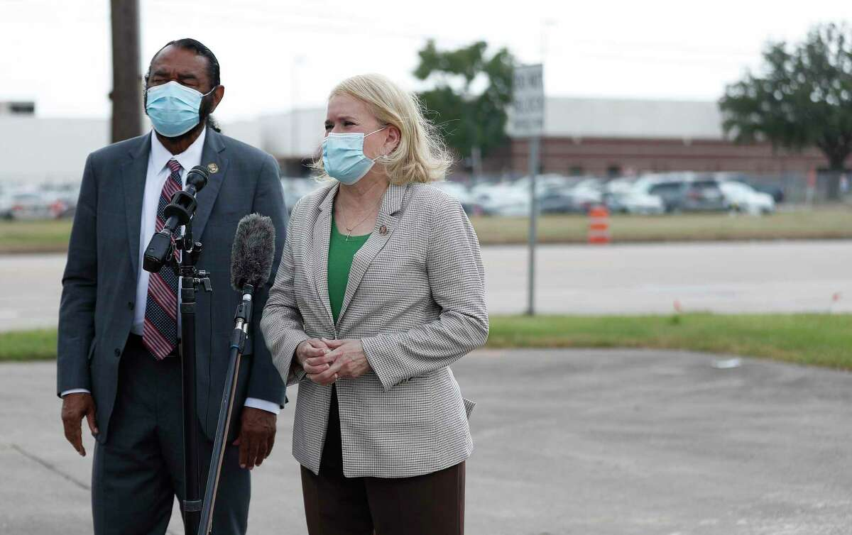 Congresswoman Sylvia Garcia and Congressman Al Green speak to the media after their visit to the North Houston USPS Distribution and Processing (D&P) Center at 4600 Aldine Bender Road to conduct congressional oversight of the U.S. Postal Service, Tuesday, September 1, 2020, in Houston.