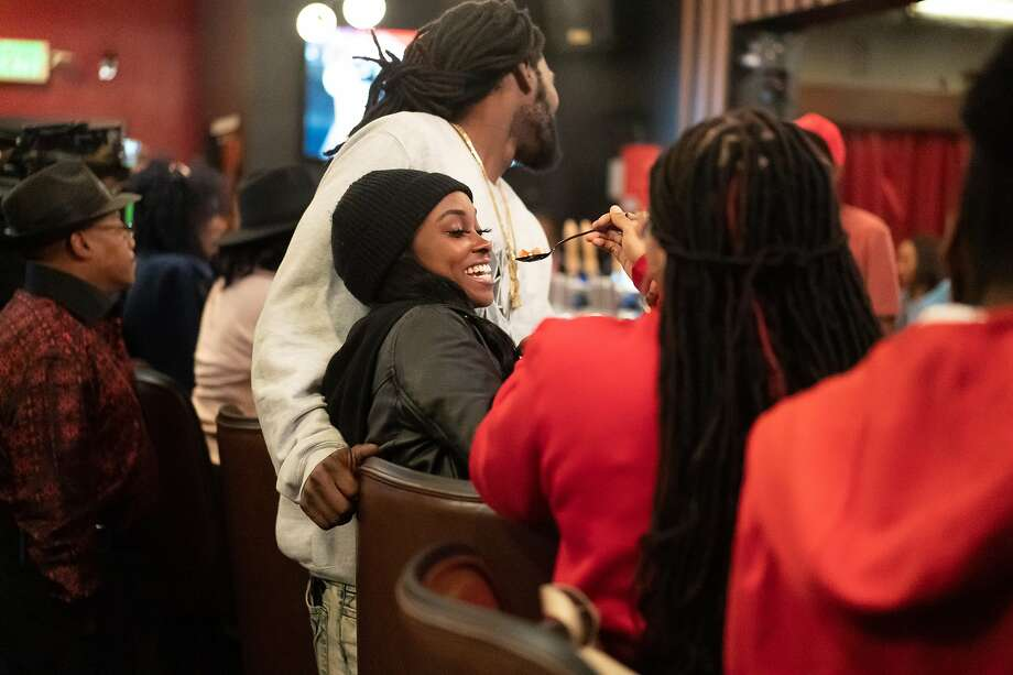 Demani Taylor is offered a taste at Marshawn Lynch's East Bay restaurant, Rob Ben's, during filming of an episode of Bar Rescue on Sunday, Oct. 13, 2019, in Oakland, Calif. Photo: Paul Kuroda / Special To The Chronicle