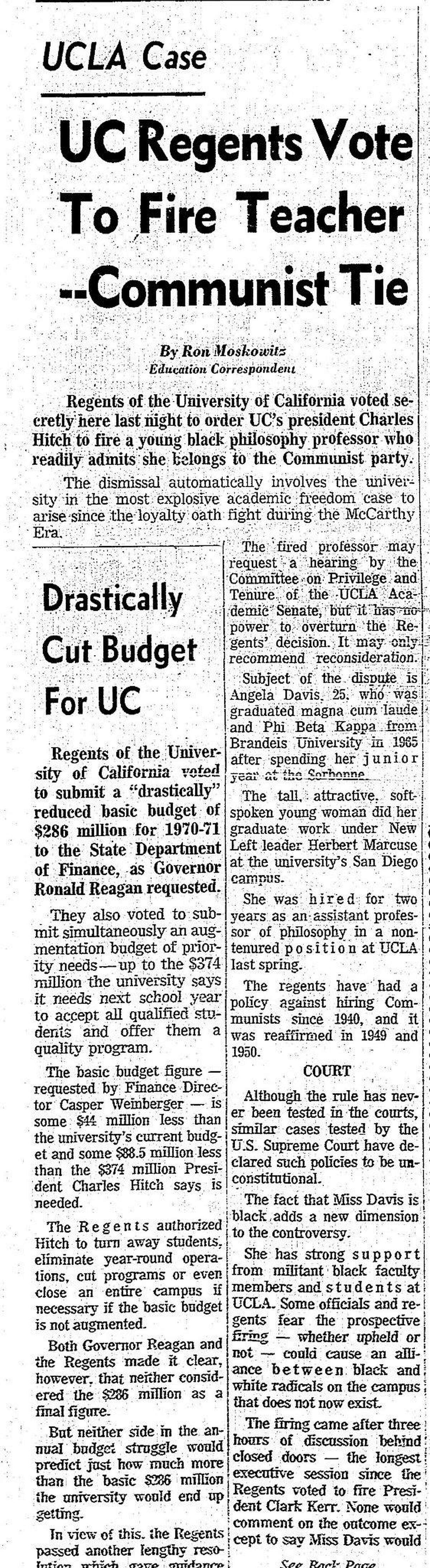 September 20, 1969 Chronicle coverage of University of California Board of Regents recommends that Angela Davis be fired