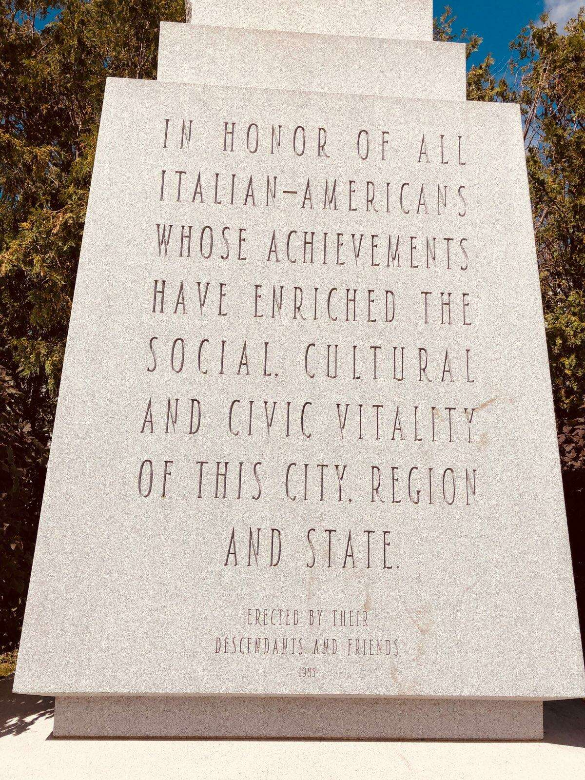 The plaque on the Italian-American Monument in Barre, Vt.