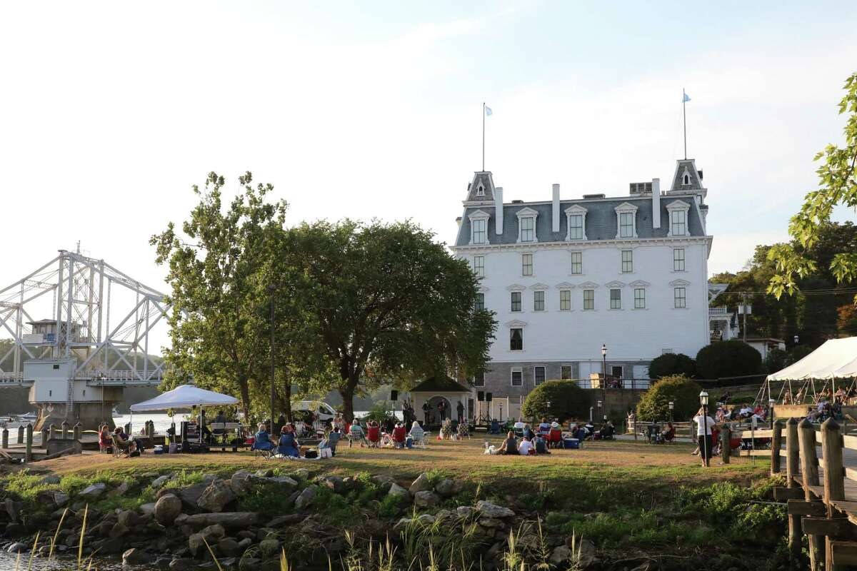 The iconic Goodspeed Opera House and one of its recent lawn concerts. A new set of concerts at a new time have been announced.