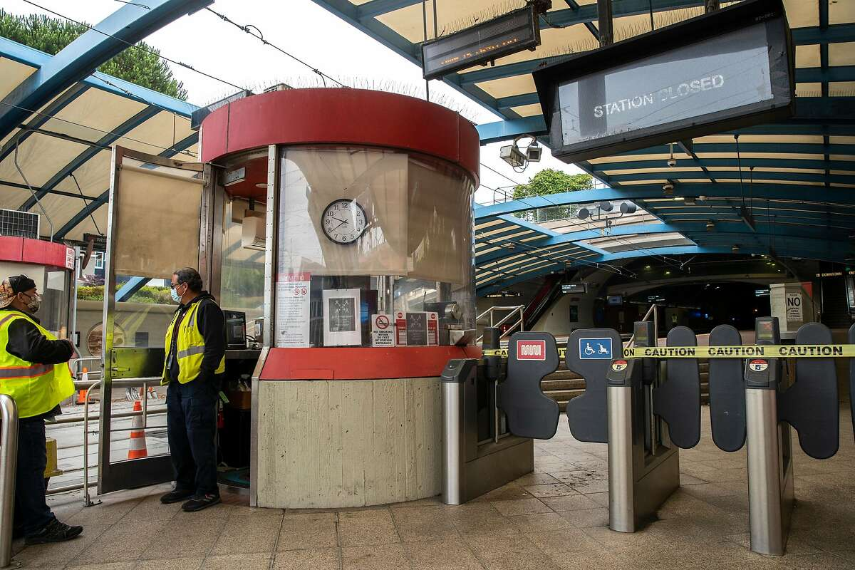 West Portal Station is closed on Friday, July 24, 2020, in San Francisco, Calif. Muni is reopening its Muni Metro Light Rail in August. According to the SFMTA, none of the Muni Metro lines are being eliminated and the changes are temporary emergency measures in response to the coronavirus pandemic. The measures include fewer runs, but longer trains in an attempt for physical distancing between passengers.