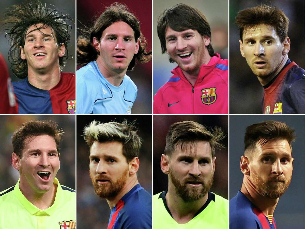 TOPSHOT - (COMBO) This combination of file pictures created on August 26, 2020 shows (L to R and TOP to BOTTOM) Barcelona's Argentinian Leo Messi in 2006, 2008, 2010, 2012, 2014, 2016, 2018. - Six-time Ballon d'Or winner Lionel Messi told Barcelona he wants to leave -- on a free transfer -- in a