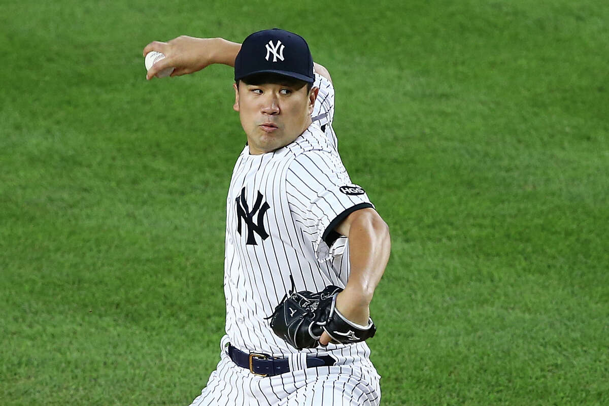 NEW YORK, NEW YORK - SEPTEMBER 01: Masahiro Tanaka #19 of the New York Yankees pitches in the second inning against the Tampa Bay Rays at Yankee Stadium on September 01, 2020 in New York City. (Photo by Mike Stobe/Getty Images)