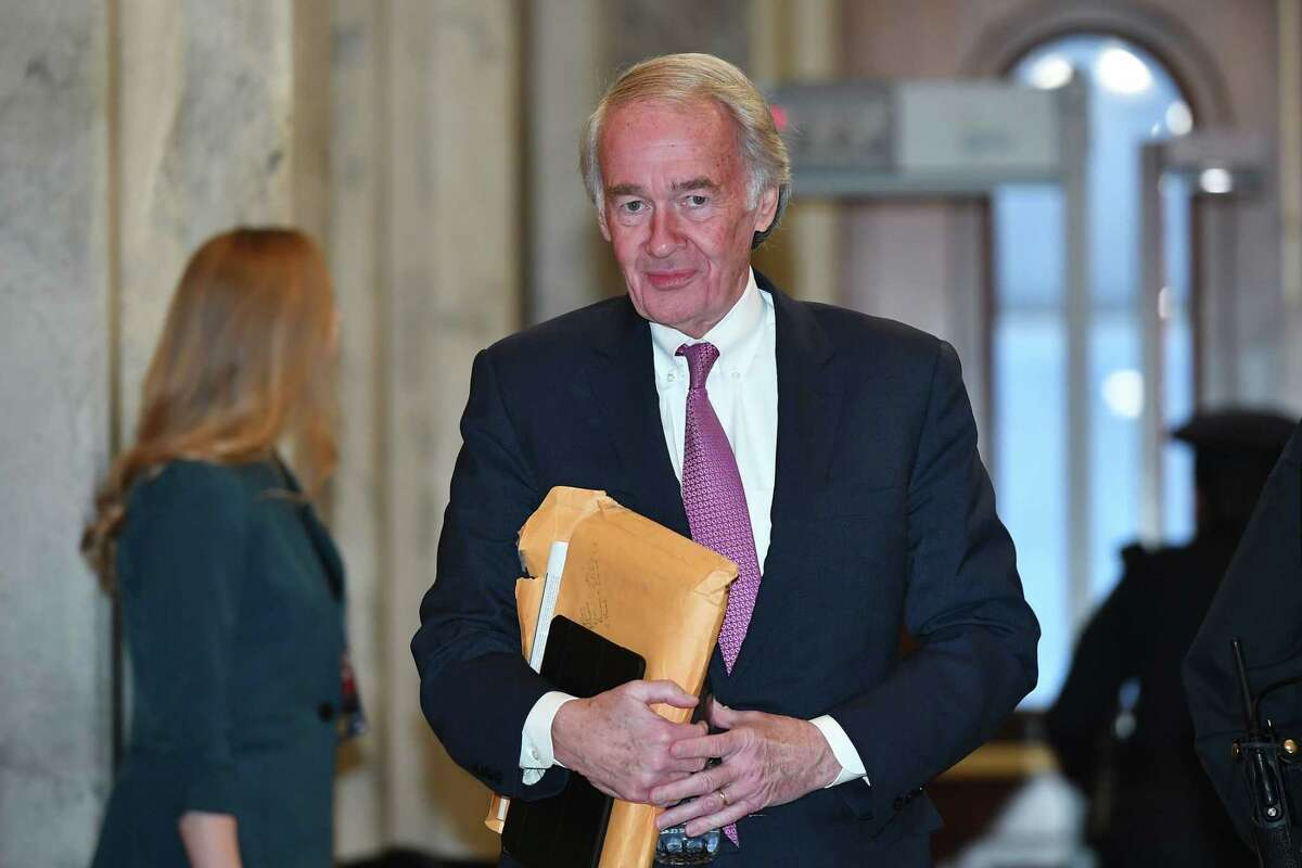 (FILES) In this file photo taken on January 31, 2020 US Senator Ed Markey, D-MA, arrives for the impeachment trial of US President Donald Trump at the US Capitol in Washington, DC. - September 1, 2020 Joe Kennedy III, the grandnephew of assassinated president John F Kennedy, lost to his rival Ed Markey, a progressive political workhorse who spent 37 years in the House and gets to keep his Senate seat. (Photo by Mandel NGAN / AFP) (Photo by MANDEL NGAN/AFP via Getty Images)