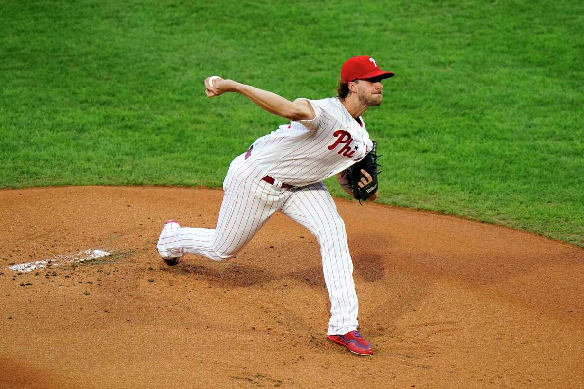 Philadelphia Phillies' Aaron Nola pitches during the first inning of a baseball game against the Washington Nationals, Tuesday, Sept. 1, 2020, in Philadelphia. (AP Photo/Matt Slocum)