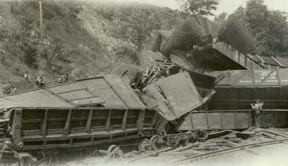 The famous wreck of the Ann Arbor Rrail Road train at Pomona near Copemish in 1929.(Courtesy Photo)