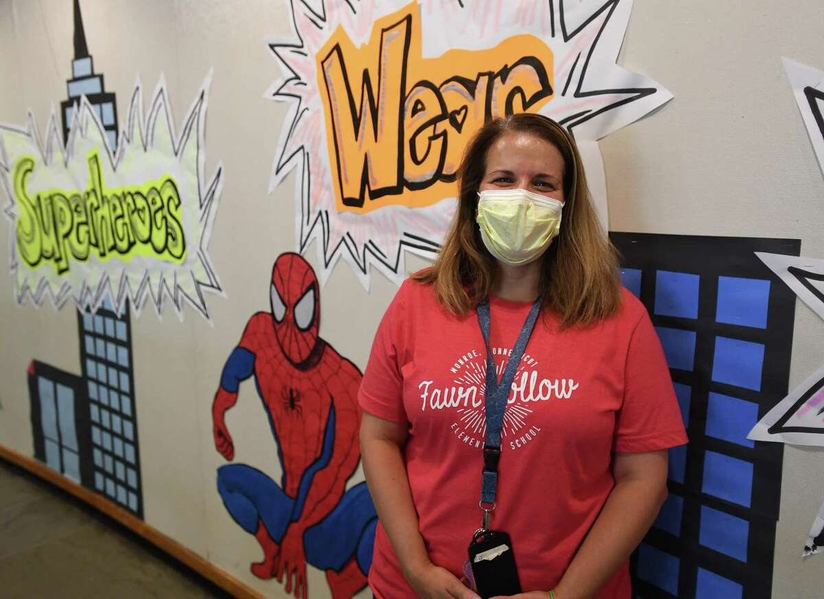 School nurse Gloria Ganino, RN, prepares for school opening in the shadow of the COVID-19 pandemic at Fawn Hollow School in Monroe, Conn. on Thursday, August 27, 2020.