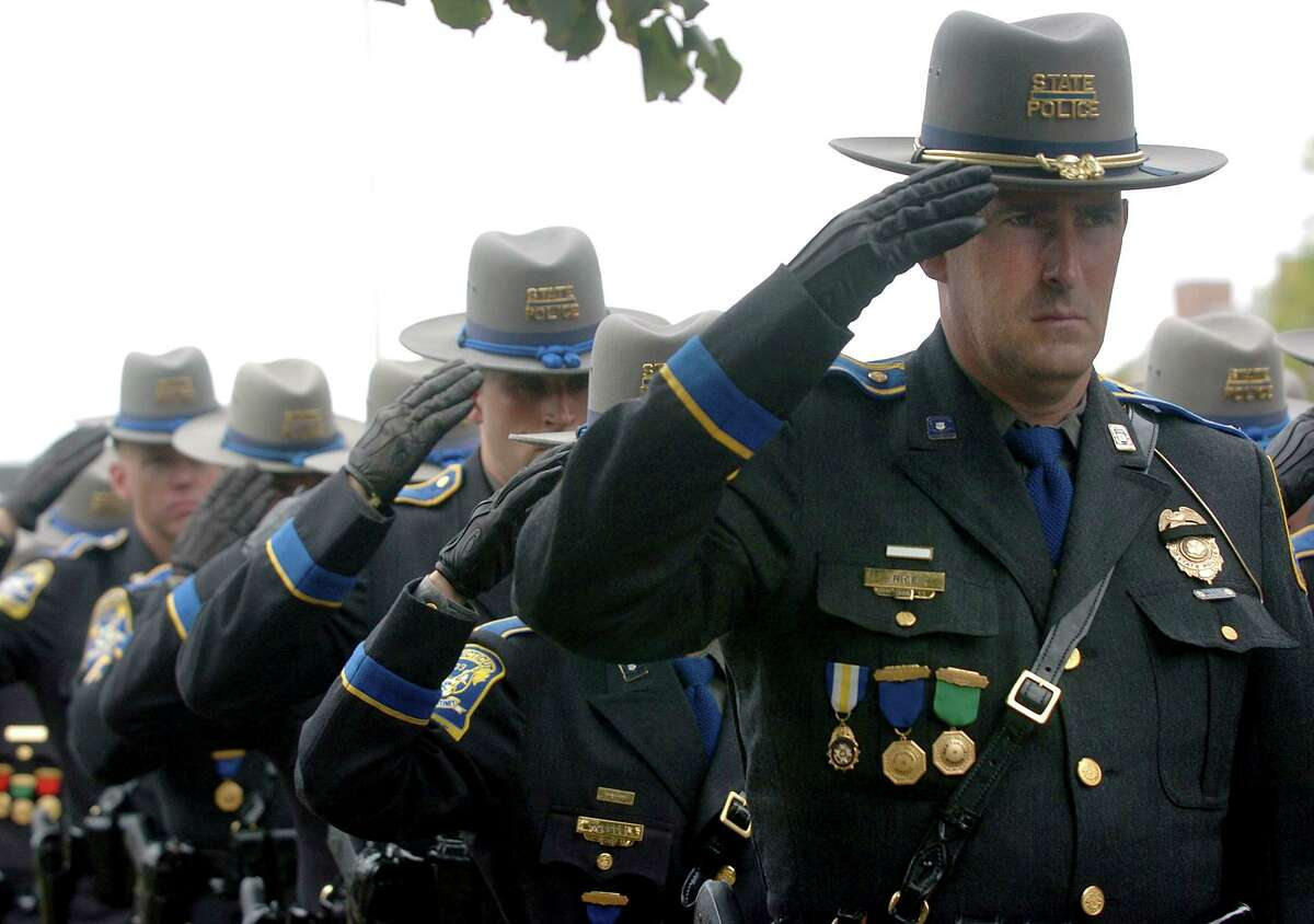 File photo of Connecticut State Police during the funeral for Trooper Kenneth Hall in Hartford, Conn., on Friday, Sept. 10, 2010. He was killed in the line of duty on Sept. 2, 2010.