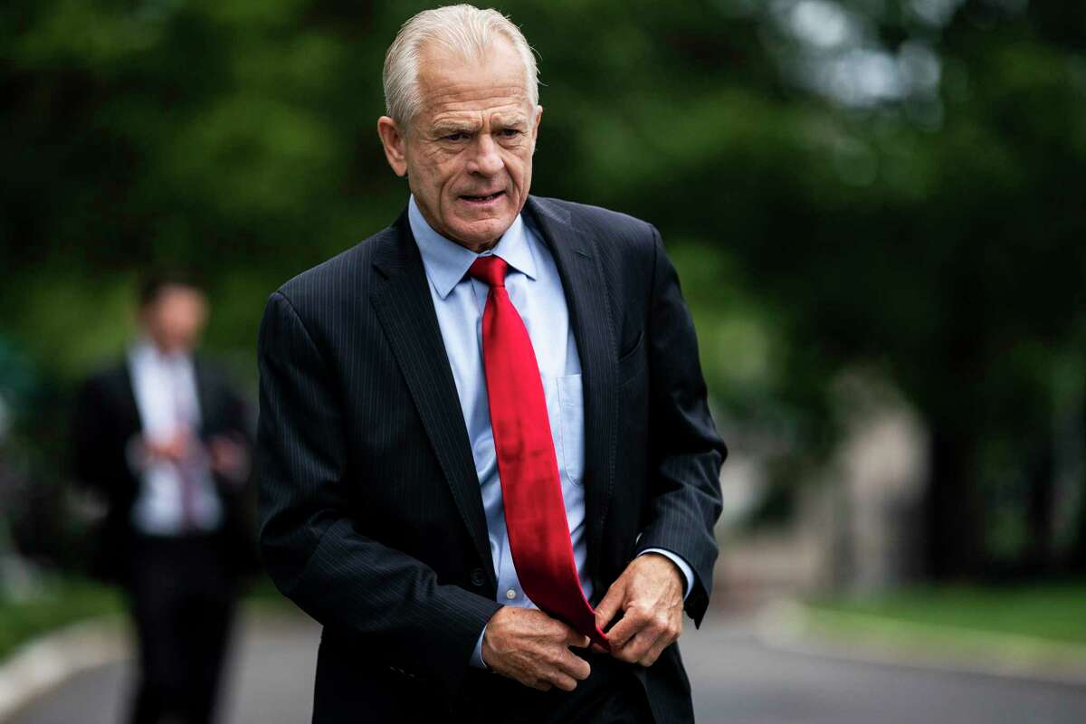 White House trade adviser Peter Navarro speaks with reporters outside the West Wing at the White House in Washington on June 18, 2020.