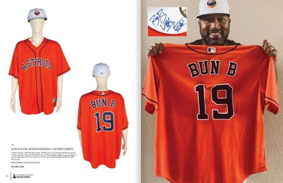 Bun B contribute a 1986 Houston Astros jersey and baseball cap. Photo: MusiCares
