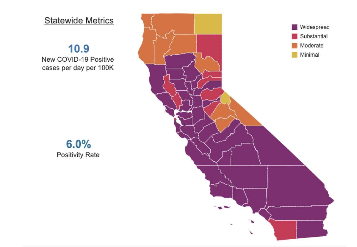 Every county's status in California's new four-tiered, color-coded reopening plan as of September 2, 2020.