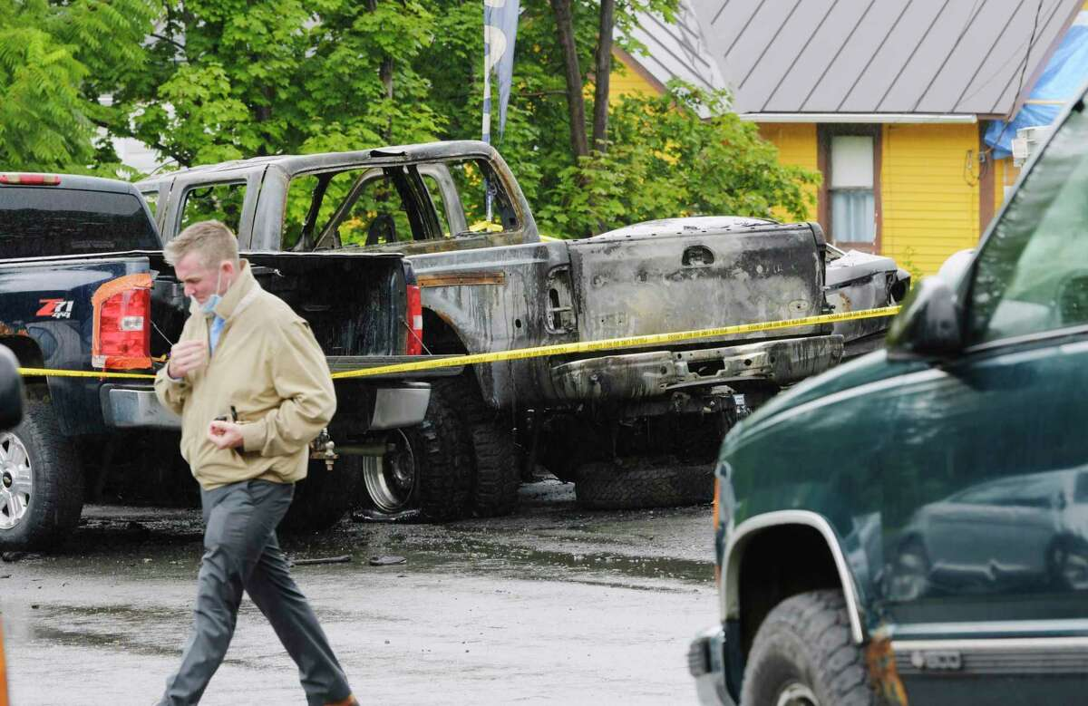 A view of vehicles damaged by fire at a repair garage on Melrose Valley Falls Road on Wednesday, Sept. 2, 2020, in Melrose, N.Y. State Police are investigating a possible arson at the automotive repair garage. (Paul Buckowski/Times Union)