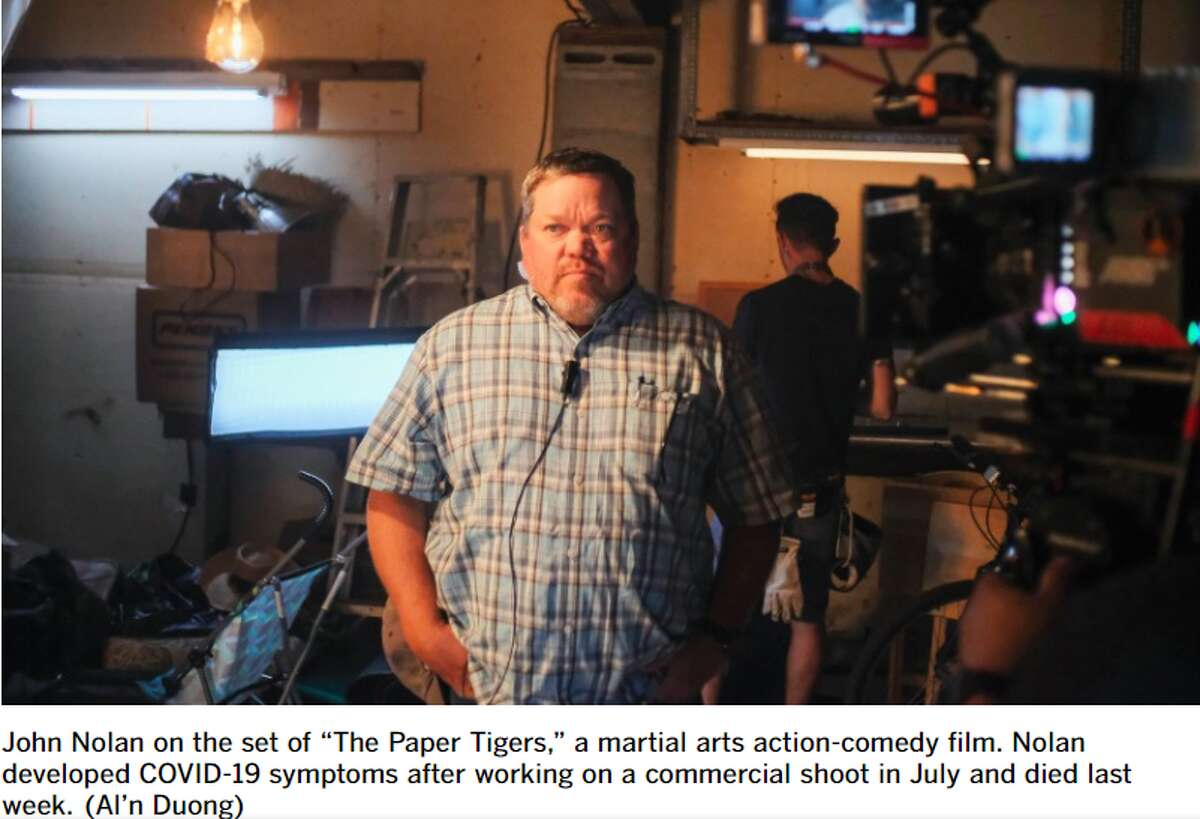 Texas-based assistant director John Nolan died Aug. 26 after weeks of battling COVID-19. (The photo and its caption was screen grabbed from the Los Angeles Times article Crew death renews concerns over film set safety amid COVID-19)