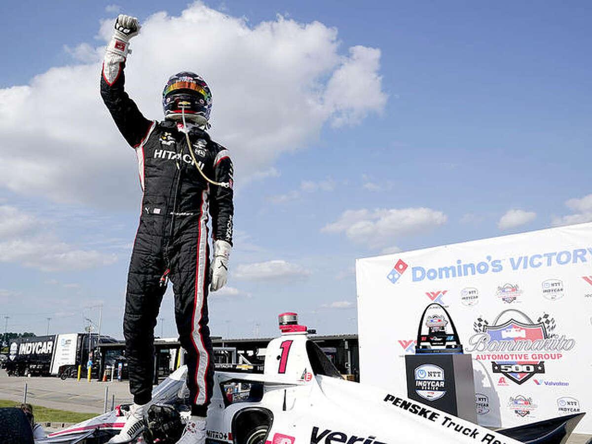 Josef Newgarden celebrates after winning Sunday's IndyCar race at World Wide Technology Raceway in Madison.