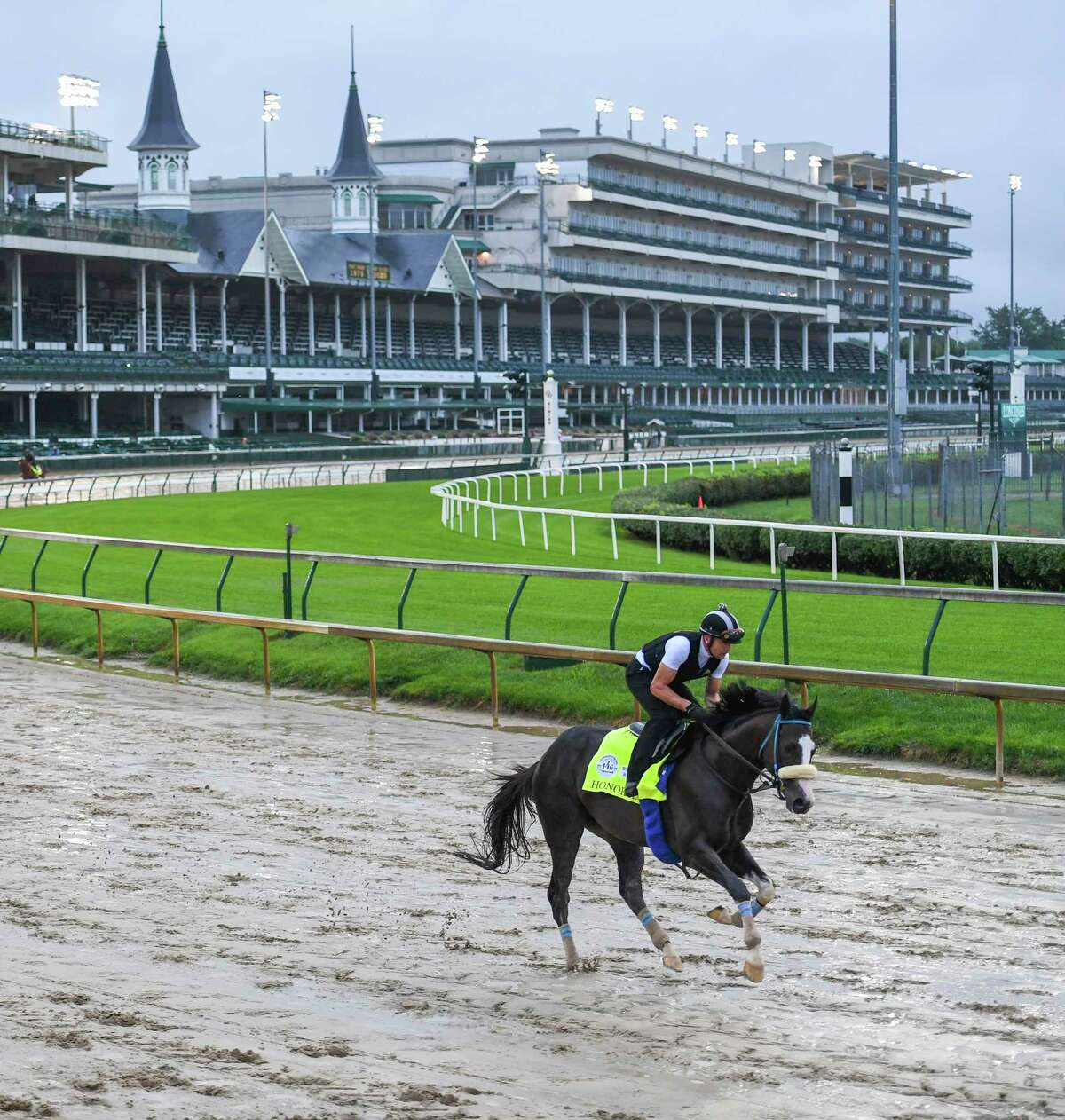Honor AP gallops over a very muddy track at Churchill Downs Wednesday Sept. 2, 2020 In Louisville, KY. Photo by Skip Dickstein/Special to the Times Union