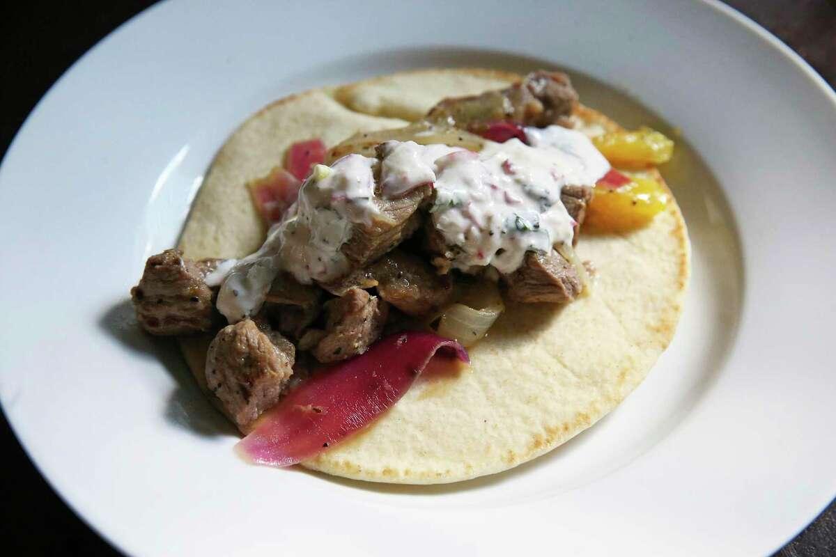 Ina Garten's Pork Souvlaki with Radish Tzatziki as prepared by Todd Slack