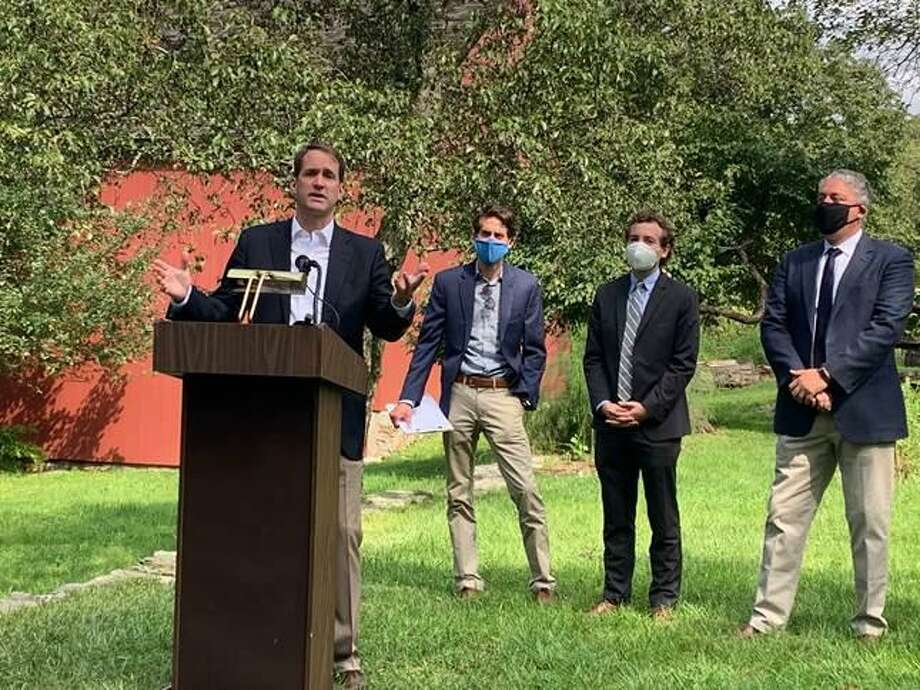 Congressman Jim Himes (D-4th) announces passage of the Great American Outdoors Act at Weir Farm on Aug. 28. Photo: Contributed Photo / Congressman Jim Himes / Wilton Bulletin Contributed