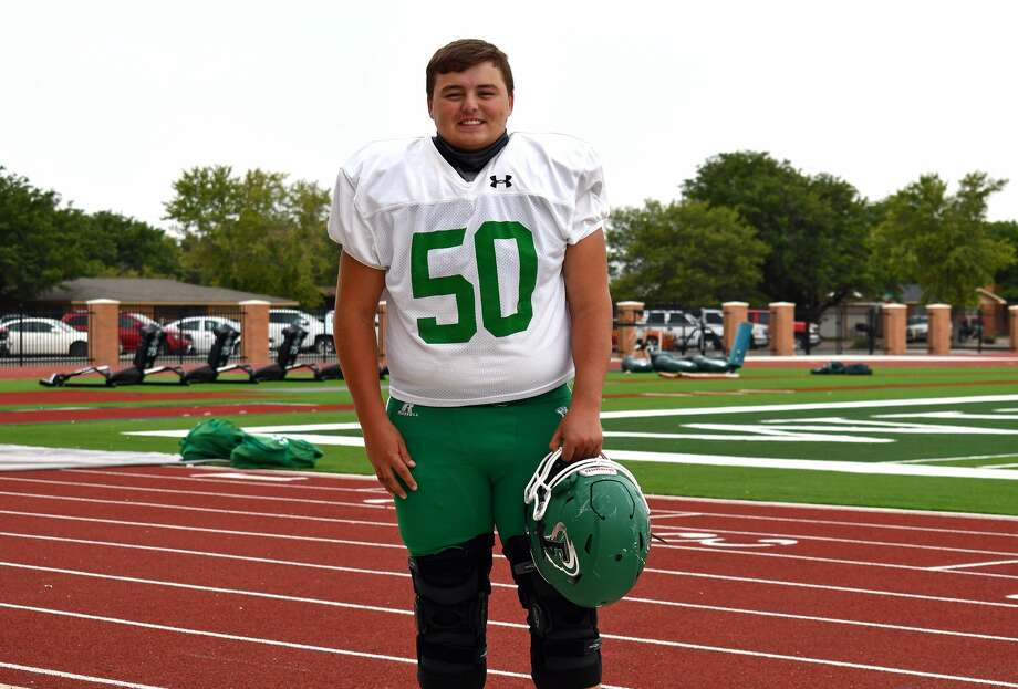 Floydada's Ryder Glass has come back from a devastating car crash earlier this year to return to the football field for the Whirlwinds. Photo: Nathan Giese/Planview Herald