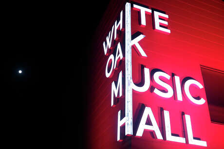 The White Oak Music Hall is bathed in red light as part of the Red Alert Night of Action, a national awareness campaign on the plight of live performance events as a result of the pandemic shutdown, Tuesday, Sep. 1, 2020 in downtown Houston, TX.