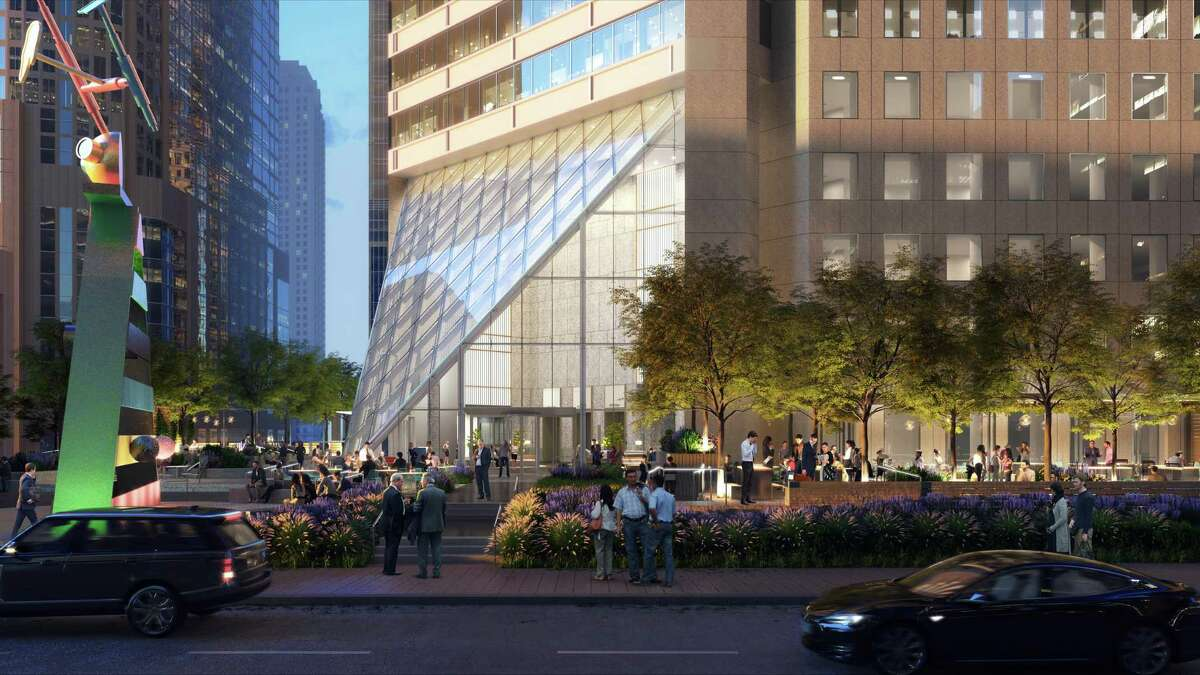 The plaza area at 600 Travis will be transformed into a urban garden with a glass pyramid entry. The building is owned by Hines and Cerberus Capital Management.