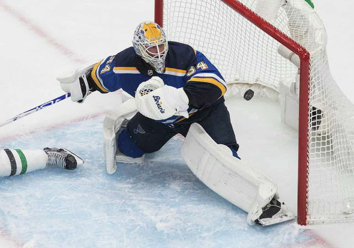 The Blues have traded goalie Jake Allen to the Montreal Canadiens. The Blues will receive a third- and a seventh-round pick in this year's draft in exchange for Allen and a 2022 seventh-rounder in an effort to clear salary cap space in their effort to keep captain Alex Pietrangelo. Allen is shown in action earlier this month in a playoff game against Dallas.