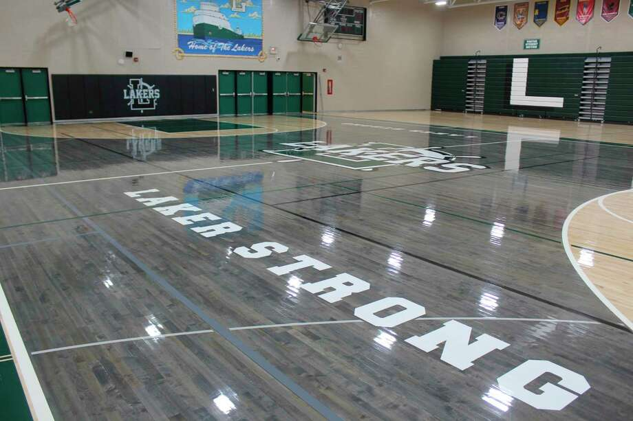 The Laker High School gymnasium floor got a new paint scheme over the summer. The work was done by Star Flooring. (Robert Creenan/Huron Daily Tribune)